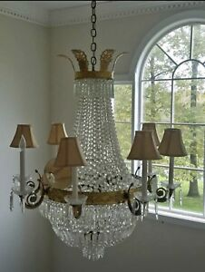 Antique Vintage Brass French Empire Crystal Directoire Beaded Basket Chandelier