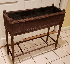 Upainted Antique Heywood Wakefield Wicker Plant Stand