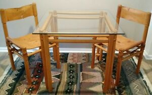 Mid Century Vtg Beech Wood Safari Style Table Argentina Leather Chairs Buckles
