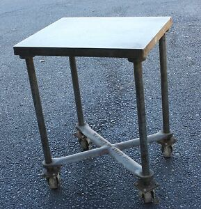 Antique Printers Industrial Turtle Table L b Sales Steel Printing Cart Casters