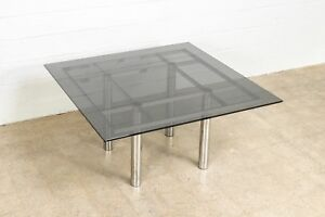 Mid Century Dining Table Tobia Scarpa Smoked Glass Chrome Knoll Table Vintage