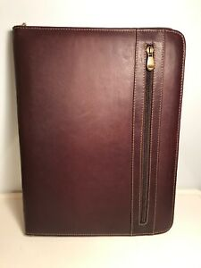 Brown Leather Zippered Legal Pad Portfolio Leather Made In Columbia