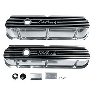 Edelbrock 4264 Valve Cover Tall Chrome Elite Ii Pair 289 302 351w