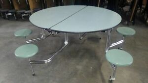 Oval Cafeteria Table With 6 Stools Wheelchair Accessible