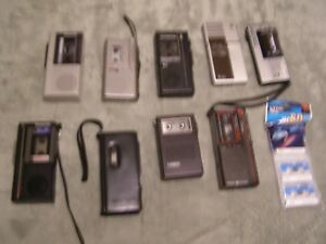 Lot Of 9 Vintage Dictaphone Micro Cassette Player Recorders Sony Panasonic Ge