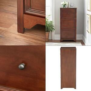 3 Tier Wooden File Cabinet Storage Drawer Organizer For Home Office Chestnut