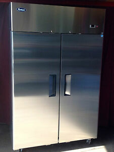New 2 Door 47cf Large Stainless Reach In Freezer W Casters Free Ship W Liftgate