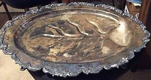 Footed Butler Tray Silver Plated Server With Well 23 X 17 Inches Heavy