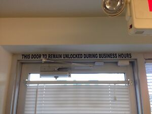 This Door To Remain Unlocked During Business Hours Sign