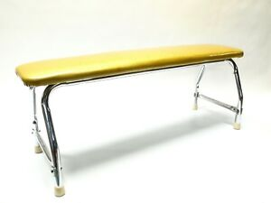 Vintage Mid Century Modern Gold Sparkle And Chrome Bench