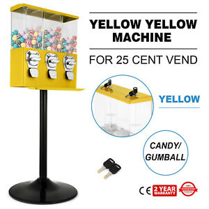 Yellow Triple Bulk Candy Vending Machine 3 head Dispenser Metal pc W Keys