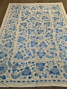 Large Uzbek Beautiful Vintage Hand Embroidered Wall Decor Quilt Bedding Suzani