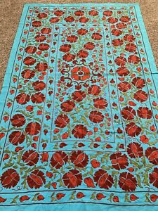 Vintage Uzbek Large Beautiful Hand Embroidered Quilt Bedding Wall Decor Suzani