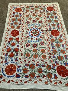 Large Uzbek Beautiful Quilt Bedding Handmade Wall Decor Embroidery Suzani