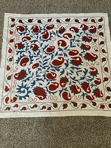 Uzbek Vintage Multi Original Walldecor Tablecloth Handmade Embroidery Suzani