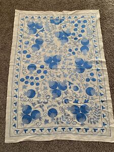 Uzbek Vintage Wall Hanging Handmade Embroidery Light Blue Tablecloth Suzani