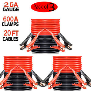 3x Heavy Duty 20 Ft 2 Gauge Clamps Booster Jumper Cables Motorcycles Cars Trucks