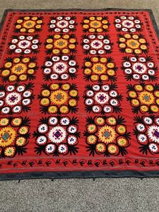 Large Uzbek Vintage Handmade Antique Tablecloth Wall Hanging Embroidery Suzani