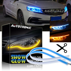 2x 45cm Led Headlight Eyebrow Drl Strip Light Turn Signal Flowing Ice Blue Amber