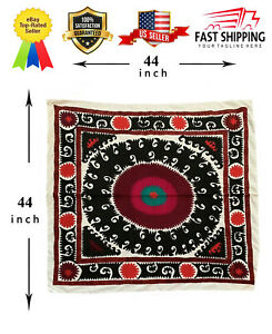 44 X 44 Uzbek Hand Embroidered Vintage Original Wall Hanging Tablecloth Suzani