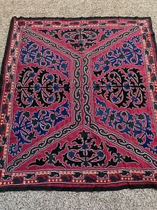 Wine Color Tajik Vintage Walldecor Original Handmade Emroidery Tablecloth Suzani