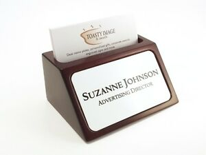 Personalized Business Card Holder For Desk Mahogany With White Aluminum Insert