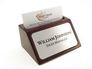 Personalized Business Card Holder For Desk Mahogany With Silver Aluminum Insert