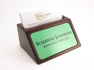 Personalized Business Card Holder For Desk Mahogany With Green Aluminum Insert