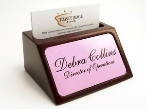 Personalized Business Card Holder For Desk Mahogany With Pink Aluminum Insert