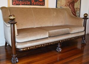 Antique French Empire Mahogany Sofa Ormolu Mounts Carved Classical Settee 19th C