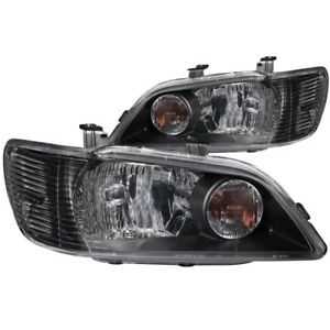 Anzo 2002 2003 Mitsubishi Lancer Crystal Headlights Black Anz121101