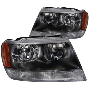 Anzo For 1999 2004 Jeep Grand Cherokee Crystal Headlights Black Anz111042