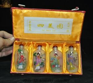 9 Old Chinese Glass Inside Painting Ancient Four Belle Beauty Snuff Bottle Set