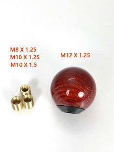 Red Carbon Fiber Gear Shift Knob Round Ball Shape Fit Universal Car