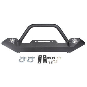 Rock Crawler Front Bumper W led Lights winch Plate For 1987 06 Jeep Wrangler Tj