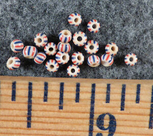 20 Original Small Red White Blue Chevron Huron Indian Trade Beads Fur Trade