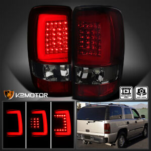 For 2000 2006 Chevy Suburban Tahoe Gmc Yukon Red Smoke Led Drl Bar Tail Lights
