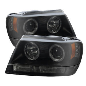 Spyder For Jeep Grand Cherokee 99 04 Projector Headlights Led Halo Led Black Smo