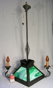 Antique Arts Crafts Wrought Iron Slag Glass Hanging Chandelier Ceiling Light