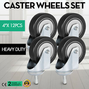 12 Pack 4 Inch Stem Casters Wheels Flexible High Tension 130kg 280lbs
