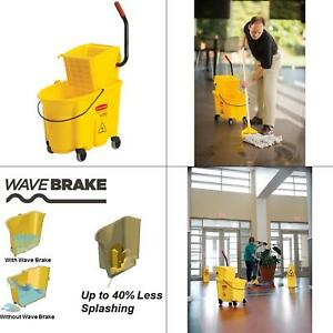 Rubbermaid 35 Qt Yellow Plastic Mop Bucket With Removable Wringer Heavy Duty