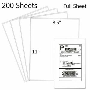 200 Shipping Labels Full Sheet 8 5x11 Self Adhesive Inkjet Laser Blank Paper Ups
