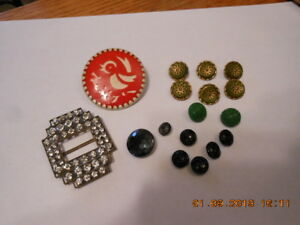 Nice Lot Of Early Buttons And Rhinestone Buckle Red Rooster Pin