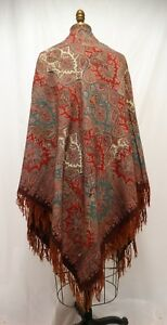 Antique 1860 Paisley Shawl Challis Print Fringed England Wedding Shawl