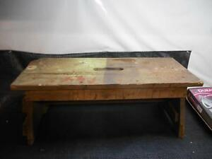Antique Primitive Wood Bench Step Stool Garden Seat Workbench Rustic Decor Old