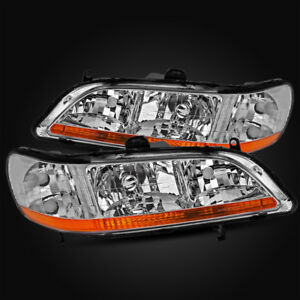 For 98 02 Honda Accord Coupe Sedan Chrome Crystal Headlights Assembly Left Right