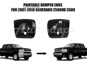 Front Bumper End Cap Blk W fog Hole Lh Rh For Silverado 2500hd 3500hd 2007 10