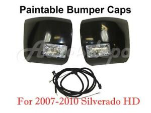 Front Bumper End Cap Blk Fog Light Harness For Silverado 2500hd 3500hd 2007 2010