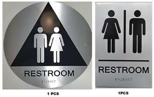 California Title 24 Geometric All Gender Restroom Sign Paired Set