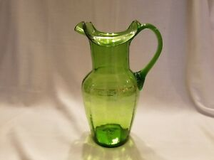 Reduced Antique Hand Blown Emerald Green Glass Pitcher Enameled Painted Design